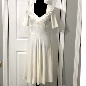 Women's 50s Pin Up Pleated Ivory Swing Dress-Small